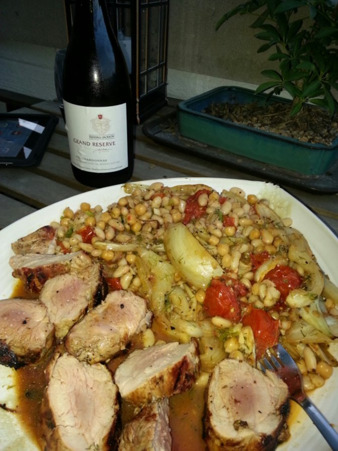 Roasted pork tenderloin, fennel, tomato and white beans
