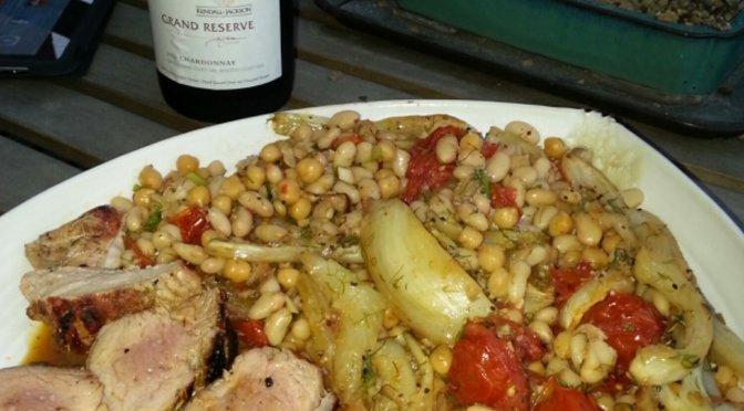 Roasted pork tenderloin, fennel, tomato and white beans