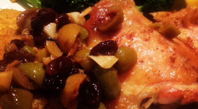 Pan Roasted Chicken Thighs with Olives and Raisins